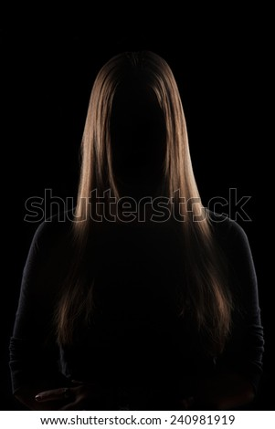 Mysterious Subject, Beautiful Hair Young woman silhouette with beautiful blonde hair
