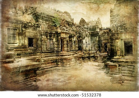 mysterious temples of ancient Cambodia -artwork in retro style