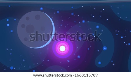 Mysterious universe. Interstellar Nebulae. Stars. Science fiction background. Deep cosmos. Vast, cold space. Solar system. Bright suns. Distant galaxies. 2d illustration. Interplanetary space.
