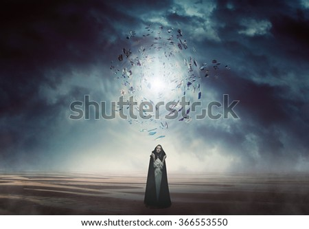 Mysterious woman in a magical and strange land . Fantasy and surreal