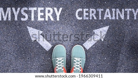 Mystery and certainty as different choices in life - pictured as words Mystery, certainty on a road to symbolize making decision and picking either Mystery or certainty as an option, 3d illustration Сток-фото ©