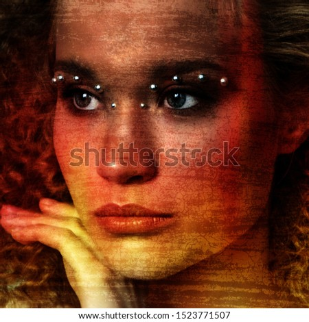 Mystery. Beautiful woman with curly long hair. Vogue. Fashion. Style & Beauty. Fine Art photo. Retro