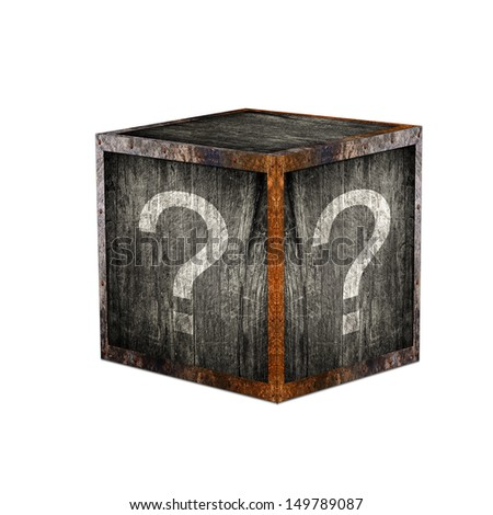 Mystery box with question marks.