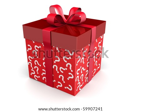 Mystery gift and surprises concept gift box with question mark pattern 3d illustration