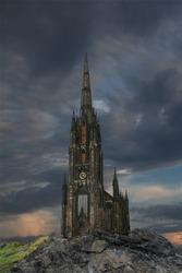Mystery gothic castle Edinburgh.