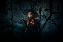 Mystery halloween witch standing over dead tree, crow, birds, full moon and spooky cloudy sky, Halloween mystery concept