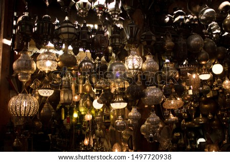 Mystery lamps of markets of the Marrakec, Morocco