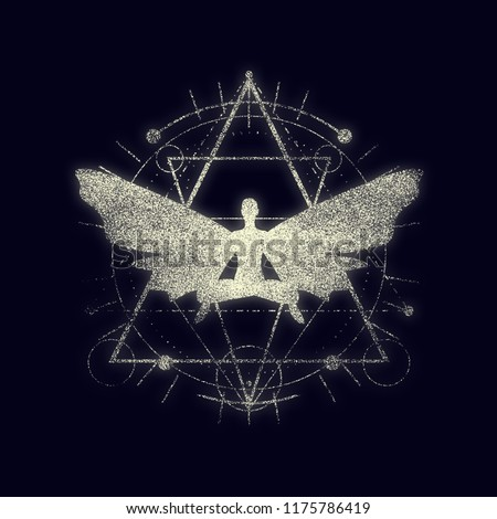 Mystery, witchcraft, occult and alchemy tattoo sign. Mystical vintage gothic geometry thin lines symbol with butterfly woman in lotus yoga pose