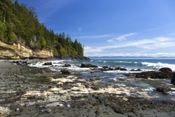 Mystic Beach Waterfront Juan De Fuca Famous Marine Hiking Trail Pacific Ocean Coastline at Vancouver Island BC Canada