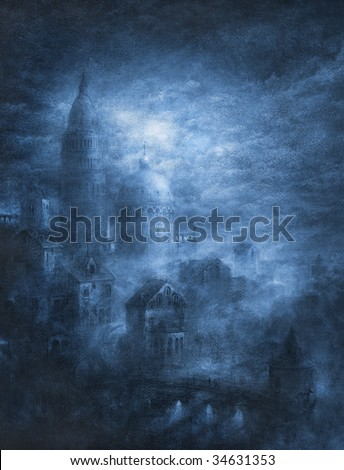 Stock Photo Mystic city. Made by tempera on paper.