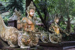 Mystic creatures at Wat Pha Lat, Chiang Mai, Thailand.