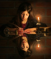 Mystic image with girl writing letter