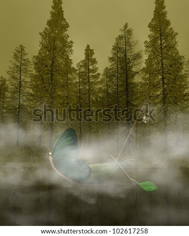mystic lake with fog and a fantasy boat