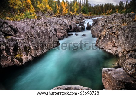 Mystic River in Lapland - stock photo