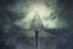 Mystic scene, wanderer guy confident walking a surreal road and found a magic stairway going up to a door in the sky. Freedom of choice concept. Opportunity stair, way to failure or success.
