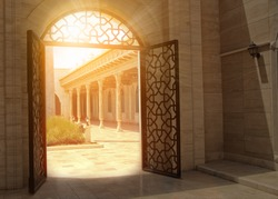mystic view of gate with sunlight.