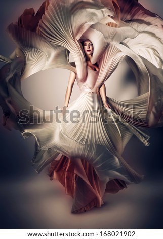 mystic woman with flying white dress