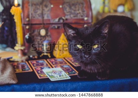 Mystical atmosphere of tarot card on the table, esoteric concept, fortune telling and predictions