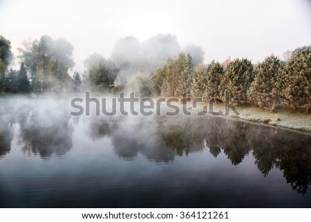 Mystical fog over the lake in the morning