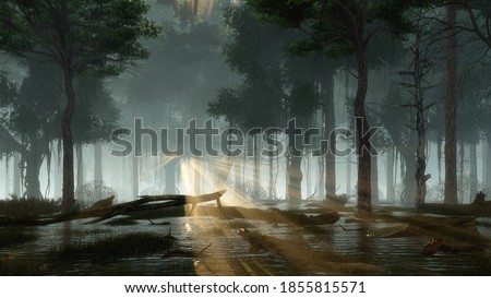 Mystical forest swamp with supernatural firefly lights soaring in a last sun rays shining through creepy dead tree silhouettes at dark misty night. Fantasy 3D illustration from my 3D rendering file.