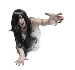 Mystical ghost woman in white long shirt reach out her hand isolated