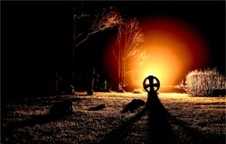 Mystical glow in horror night cemetery. Graveyard night horror. Cemetery night horror