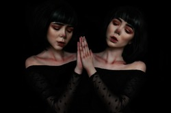 mystical mirror image of a girl