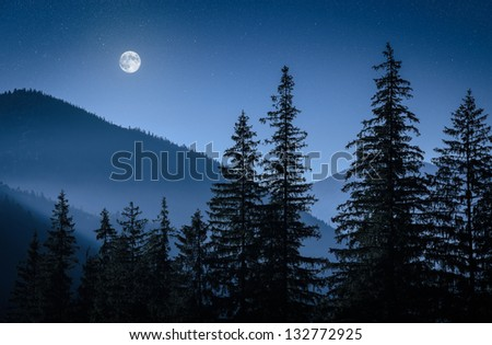 mystical moon over mountains and firs