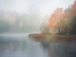 Mystical morning autumn landscape with fog over the lake. Soft focus.