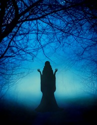 Mystical mysterious silhouette young woman girl. Fairytale witch dances magical ritual dance. Beautiful fairy lady prays backdrop amazing foggy haze black trunks enchanted trees, bright blue moonlight