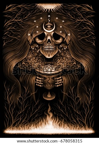 Stock Photo Mystical night. Death in the form of night, mysterious ritual, skull, moon, stars, third eye and night forest. Fantastic illustration. Sepia style