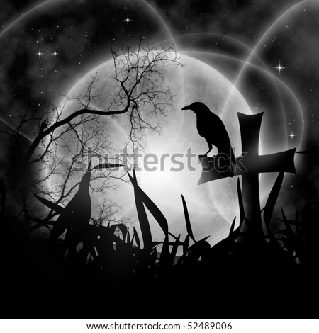 Mystical night with full moon and raven - stock photo
