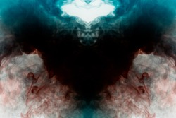Mystical pattern of multicolored smoke of red and blue in the shape of a raven with open wings of black color creating a feeling of fear on a white background from a horror. The ghost of the bird.