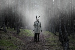 Mystical picture of a strange creature with a human body and a guanaco head in a mysterious forest covered with fog