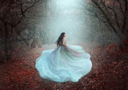 Mystical silhouette of running fairy girl queen in motion. Beautiful woman fantasy princess lush dress. dark deep forest black trees fog orange fallen autumn leaves, foliage. fabric skirt flies wind