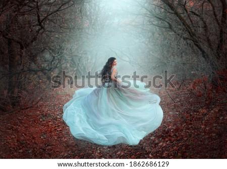 Mystical silhouette of running fairy girl queen in motion. Beautiful woman fantasy princess lush dress. dark deep forest black trees fog orange fallen autumn leaves, foliage. fabric skirt flies wind
