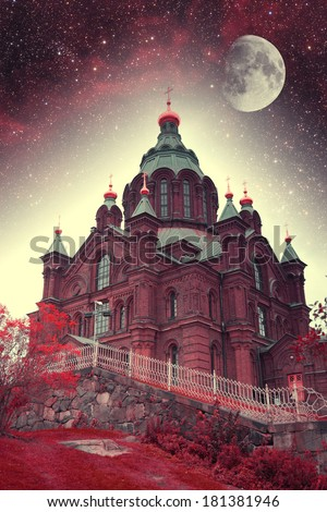 mystical sketches of the Nordic countries. Elements of this image furnished by NASA