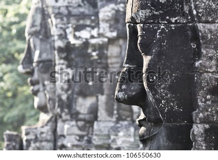 Mystical stone faces of Angkor Bayon