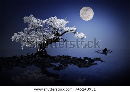Mystical tree under the moonlight  #745240951