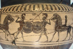 Mythical Greek heroes fighting. Pottery detail