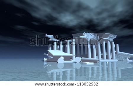 Mythicall Temple in white - stock photo