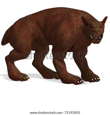 mythologic dog creature with golden skin. 3D rendering with clipping path and shadow over white