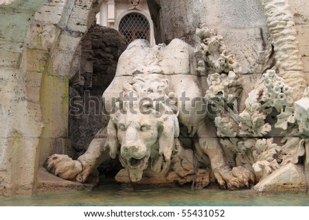 Mythological monster in Navona Square, Rome - stock photo