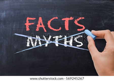 Myths or Facts concept with business woman hand drawing on blackboard  Photo stock ©