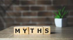 Myths word on wooden cubes. Myths concept.