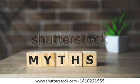 Myths word on wooden cubes. Myths concept. Photo stock ©