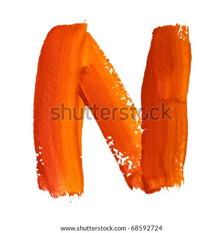 N - Color letters isolated over the white background