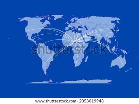 N'Djamena-Chad,connections of N'Djamena-Chad to other major cities around the world. Foto stock ©