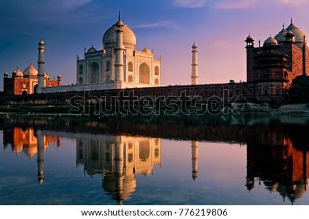 n Evening view of Taj Mahal with River Yamuna, Agra, Uttar Pradesh, India. #776219806