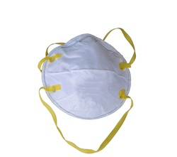 N95 fine particle protection mask isolated on white background.